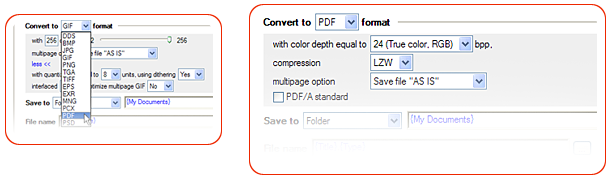 PNG to PDF converter properties